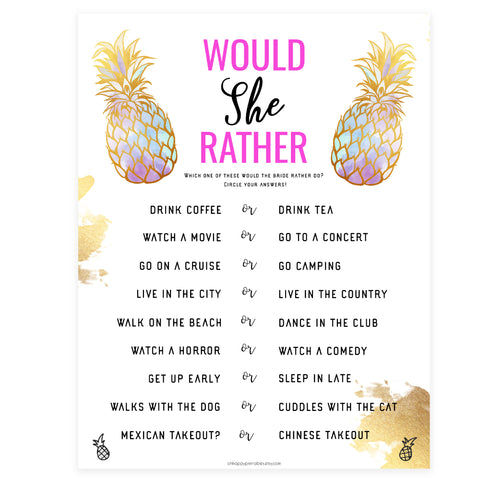 Would She Rather Bridal Game - Gold Pineapple