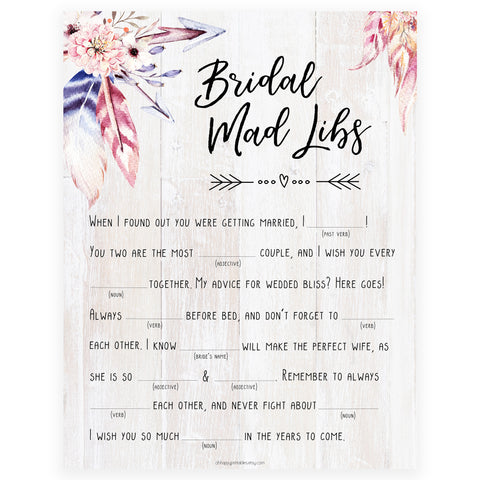 Bridal Mad Libs Game - Boho