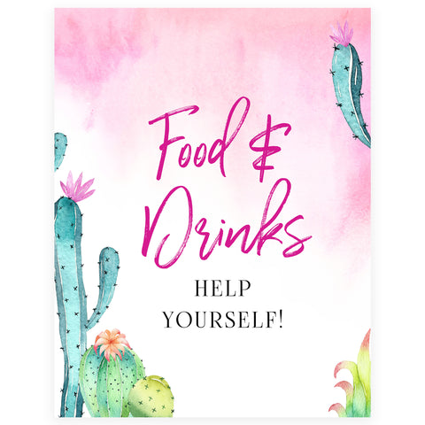 Food & Drinks Table Sign - Fiesta