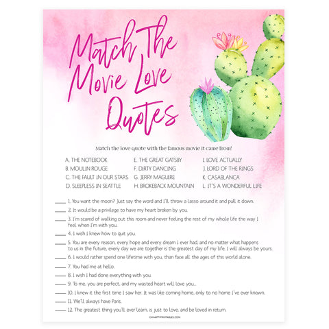 Match the Movie Love Quotes - Fiesta