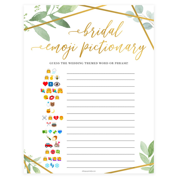 Bridal Emoji Pictionary -  Gold Greenery