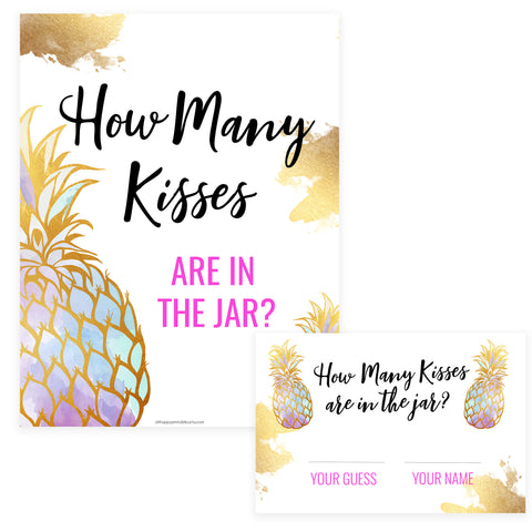 How Many Kisses in the Jar - Gold Pineapple