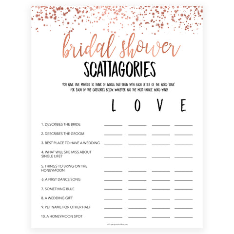 Bridal Scattergories - Rose Gold Foil