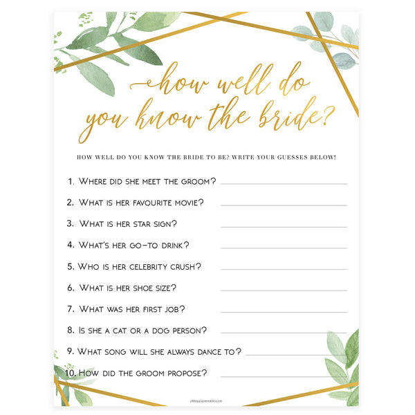 Do You Know the Bride Game - Gold Greenery