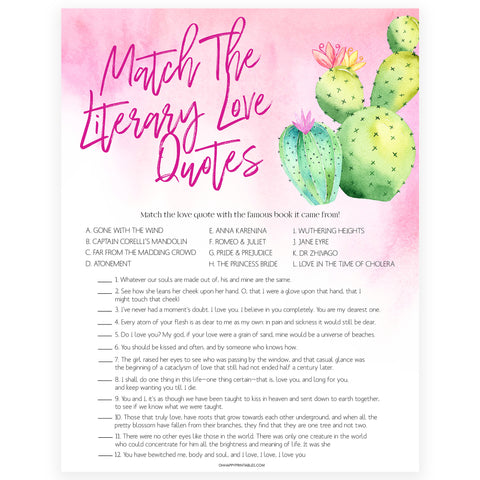 Match the Literary Love Quotes - Fiesta