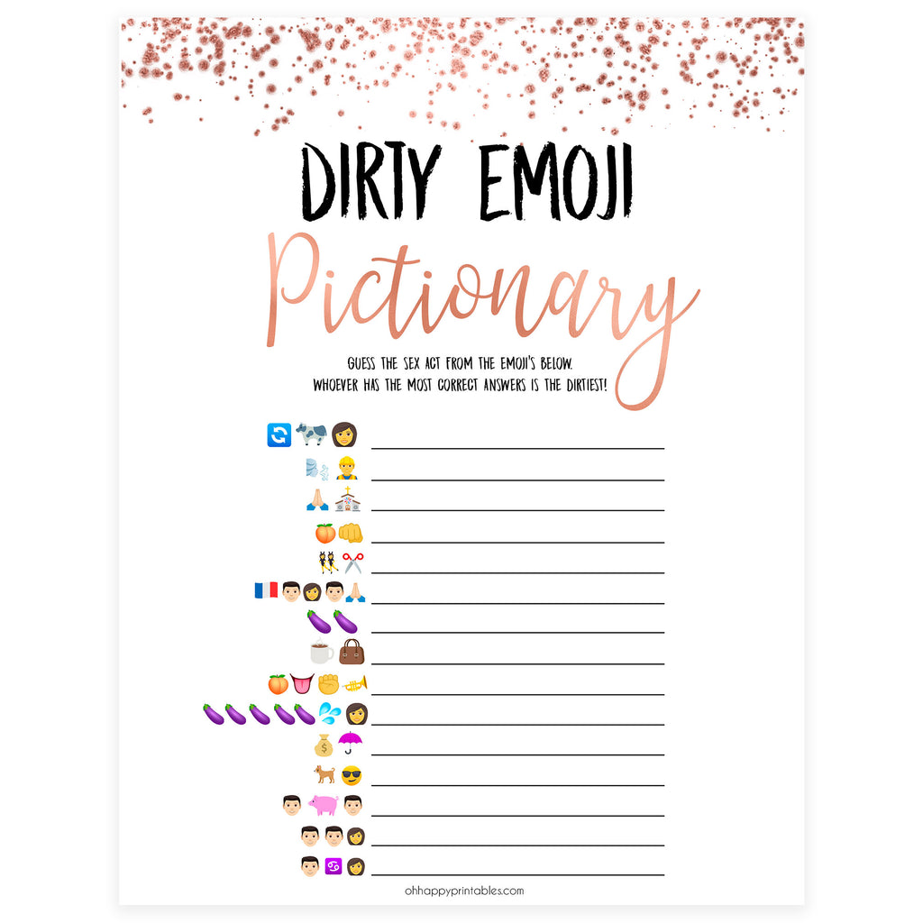 photograph about Printable Bachelorette Games named Filthy Emoji Pictionary Store Printable Bachelorette Celebration