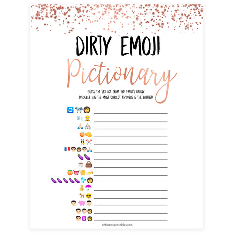 Rose gold bachelorette games, dirty emoji pictionary, bachelorette games, bridal shower games, top 10 baby games, fun bachelorette games, top bridal games, rose gold games