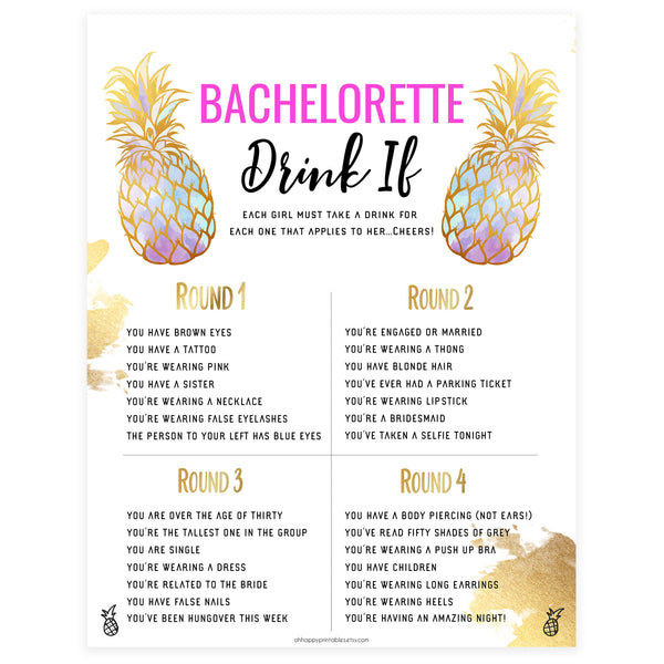 Bachelorette Drink If Game - Gold Pineapple