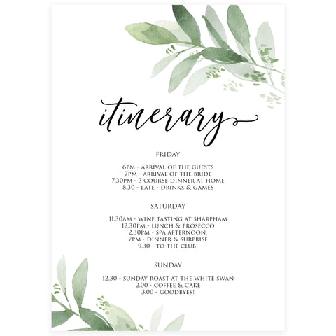 Editable Bridal & Bachelorette Itinerary - Greenery