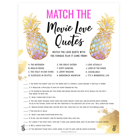 Match the Movie Love Quotes - Gold Pineapple