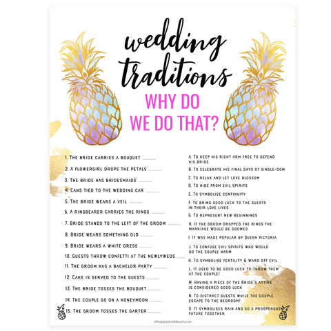 Wedding Traditions Trivia Game - Gold Pineapple