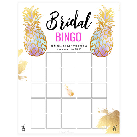 Bridal Bingo Game - Gold Pineapple