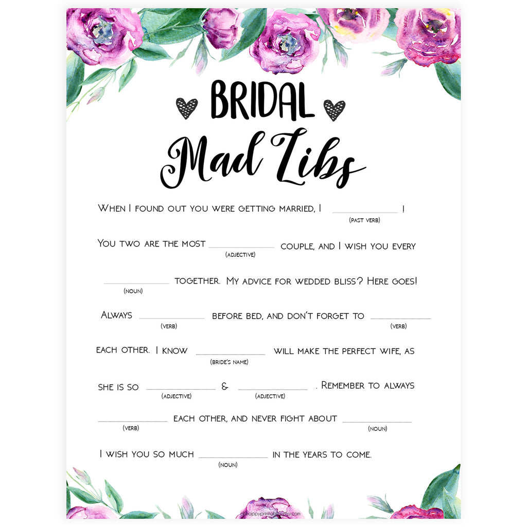 photo regarding Bridal Shower Printable Games named Bridal Crazy Libs Match - Red Peonies