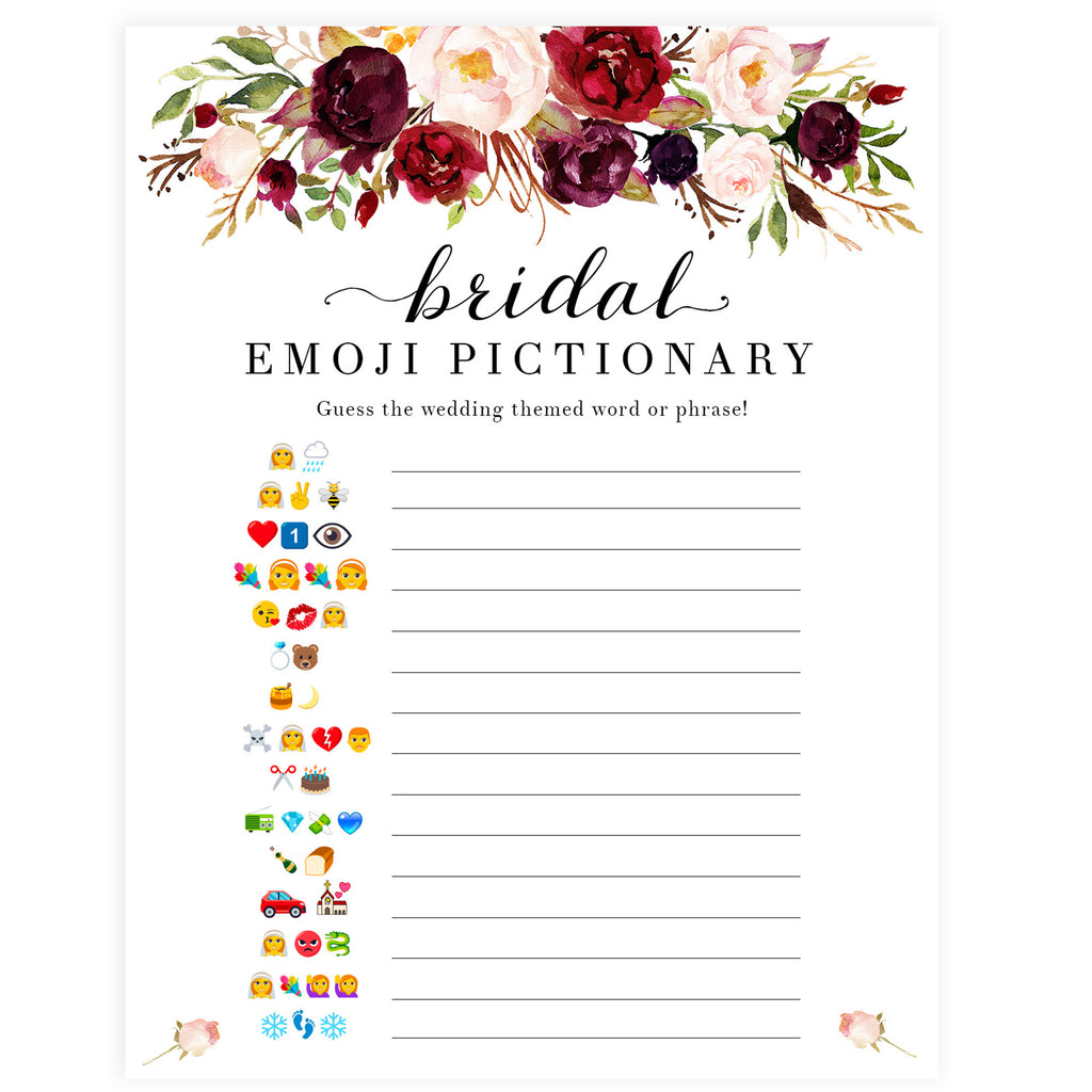 photo regarding Emoji Bridal Shower Game Free Printable called Bridal Emoji Pictionary - White Marsala