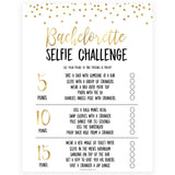 bachelorette selfie challenge game, Printable bachelorette games, gold glitter bachelorette, friends hen party games, fun hen party games, bachelorette game ideas, gold glitter adult party games, naughty hen games, naughty bachelorette games