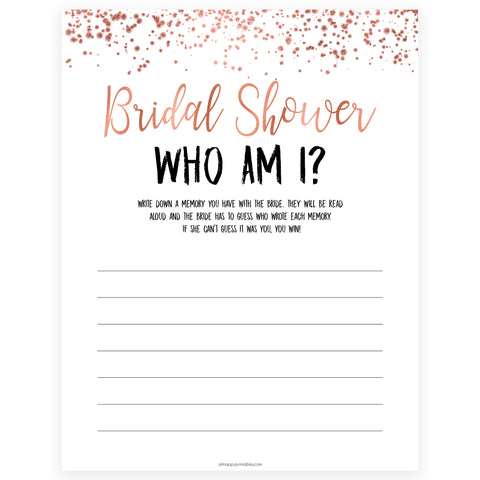 Bridal Shower Who Am I - Rose Gold Foil