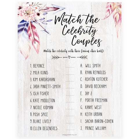 Match Celebrity Couples Game - Boho