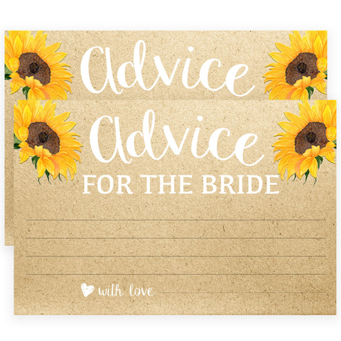 Advice for the Bride Cards - Sunflowers