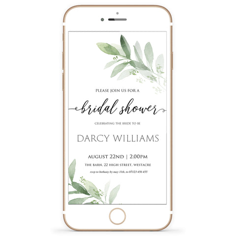 Digital Bridal Shower Invitation Template - Greenery