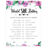 Would She Rather Bridal Game - Purple Peonies
