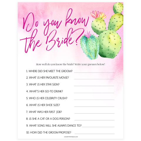 Do You Know the Bride Game - Fiesta