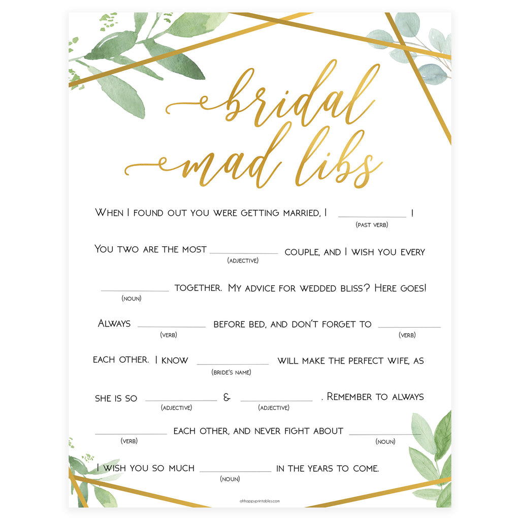 picture about Bridal Shower Mad Libs Printable referred to as Bridal Insane Libs Recreation - Gold Greenery