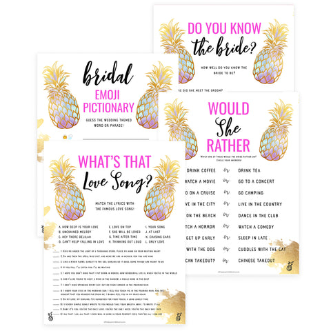4 Bridal Shower Games Bundle - Gold Pineapple
