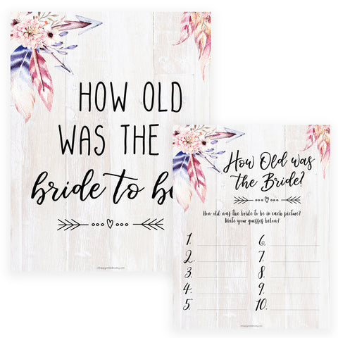How Old was the Bride Game - Boho