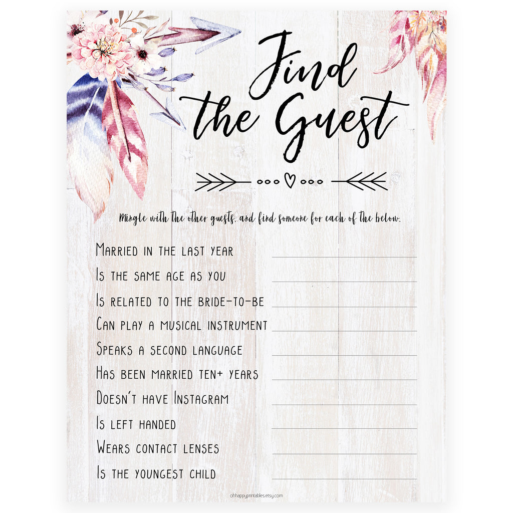 photograph relating to Bridal Shower Printable Games known as Track down The Visitor Bridal Sport - Boho