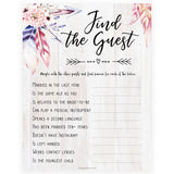 Find The Guest Bridal Game - Boho