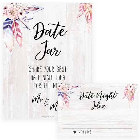 Date Night Jar Bridal Game - Boho