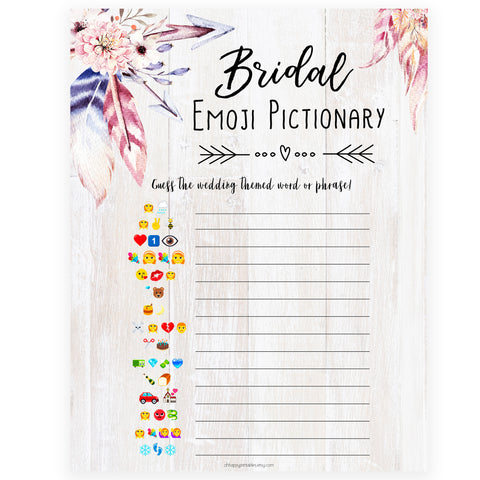 Bridal Emoji Pictionary - Boho
