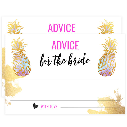 Advice for the Bride Cards - Gold Pineapple
