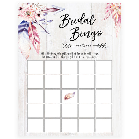 Bridal Bingo Game - Boho