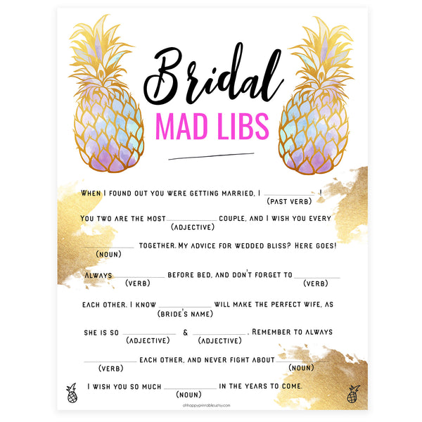 Bridal Mad Libs Game - Gold Pineapple