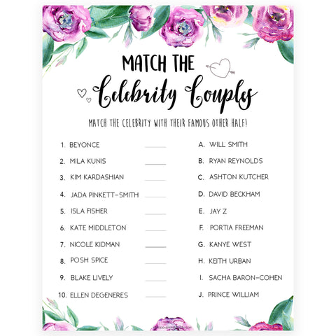 Match Celebrity Couples Game - Purple Peonies