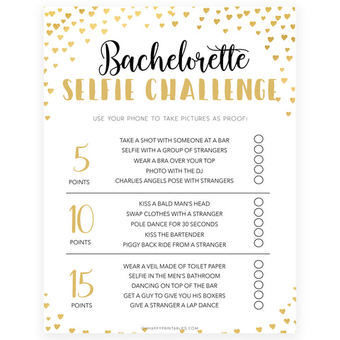 Gold hearts bachelorette games, bachelorette selfie challenge game, printable bachelorette games, hen party games, top party games, fun bridal shower games, bachelorette party games