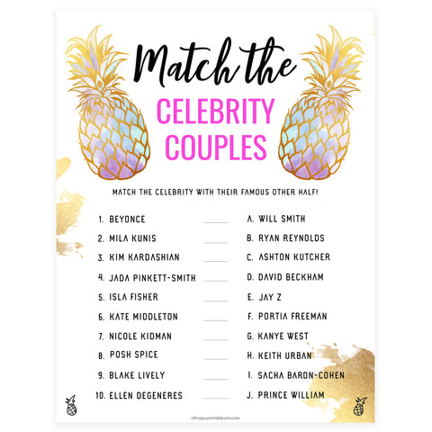 Match Celebrity Couples Game - Gold Pineapple