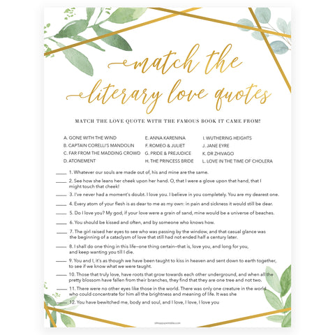 match the literary love quotes game, printable bridal shower games, floral bridal shower games, gold bridal shower games, fun bridal shower game ideas