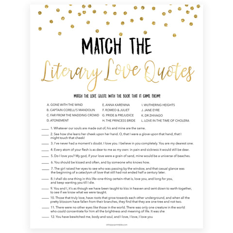 match the literary love quotes, love quotes game, Printable bridal shower games, gold glitter bridal shower, gold glitter bridal shower games, fun bridal shower games, bridal shower game ideas, gold glitter bridal shower