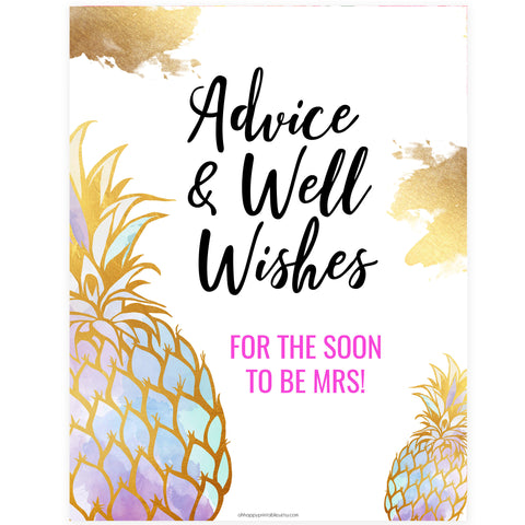 Advice & Well Wishes Sign - Gold Pineapple