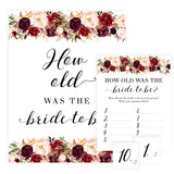 How Old was the Bride Game - White Marsala