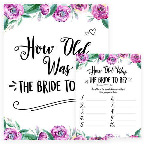 How Old was the Bride Game - Purple Peonies