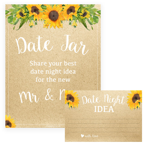 Date Night Jar Bridal Game - Sunflowers