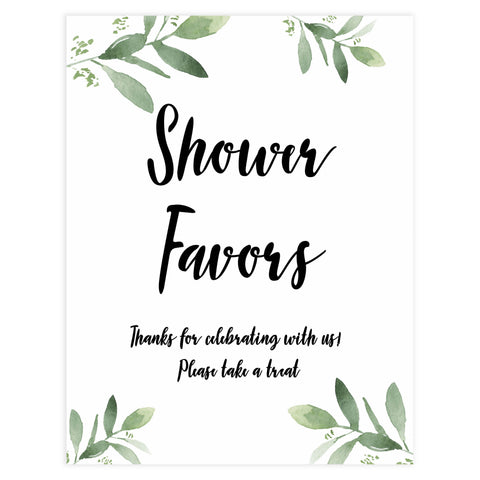 baby favors sign, baby shower signs, printable baby shower signs, botanical baby shower decor, floral baby table signs