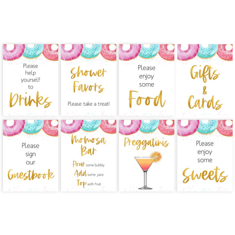 8 baby shower table signs, printable table signs, Donut baby decor, printable baby table signs, printable baby decor, baby sprinkles table signs, fun baby signs, baby donut fun baby table signs