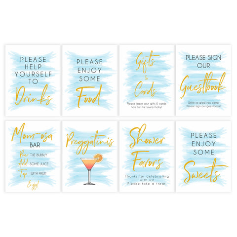 blue baby shower signs, printable baby shower signs, baby signs pack, fun baby games ideas