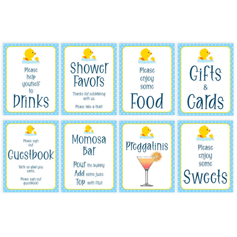 rubber ducky baby shower signs, baby shower signs, printable baby signs, baby decor, food signs, sweet signs, gift and cards signs