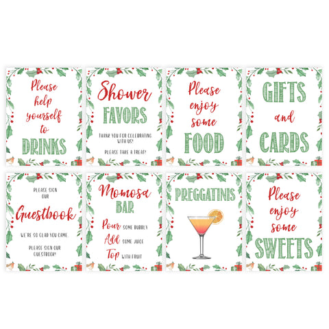 Christmas baby shower signs, baby sign pack, food baby shower sign, baby shower decor, printable baby signs, baby decor, festive baby shower