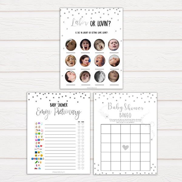 silver glitter baby shower games, printable baby shower games, silver baby games, baby shower games, fun baby shower games